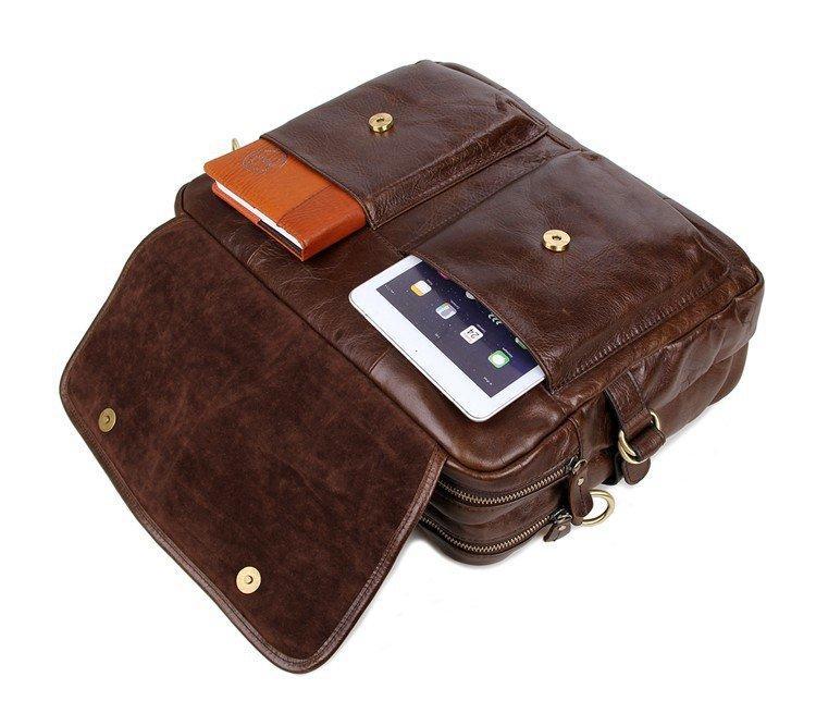 Cặp laptop da bò 245 cho dân công sở nâu cá tính thời trang