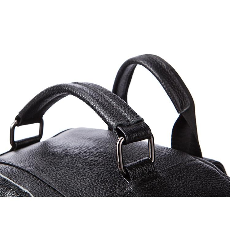 Balo laptop da bò 083 màu đen vân hạt trẻ trung