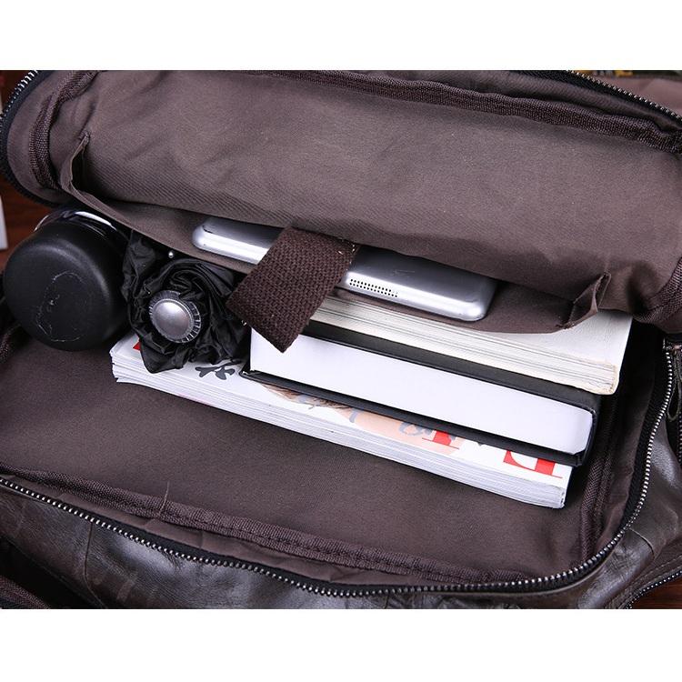 Balo laptop da bò nam #059 da sáp đen khói sang trọng