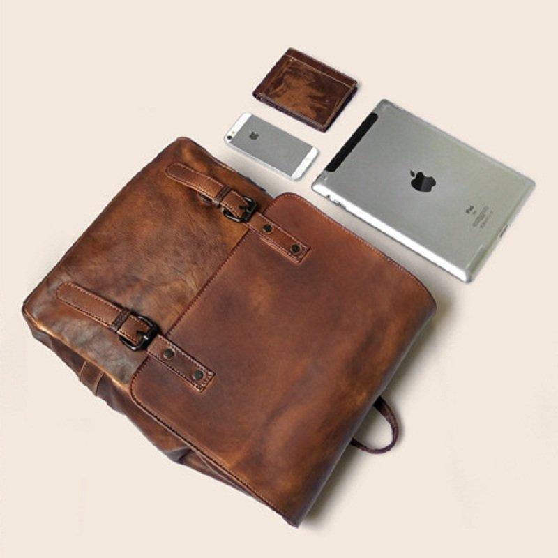 Balo laptop du lịch da bò 166 chất liệu da sơn điện ly cao cấp