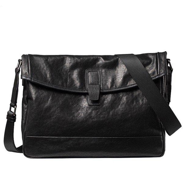 Túi da bò đeo chéo 200 da bò cao cấp màu đen đựng laptop 13.3''