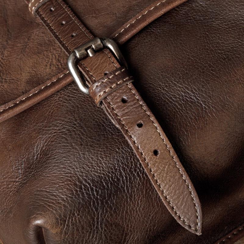 Túi da bò đeo chéo 200 da sơn cao cấp nâu đen đựng laptop 14''