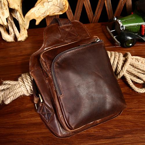 Túi xách da bò dây đeo chéo nâu cafe #056