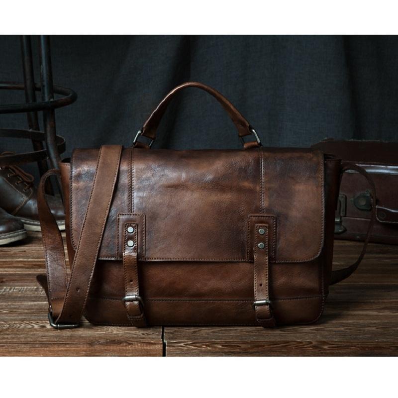 Túi xách da bò đeo chéo #093 màu nâu bò thiết kế trẻ trung năng động