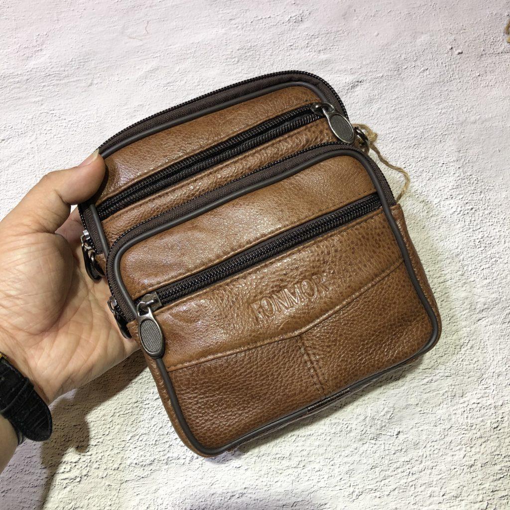 Túi chéo da bò điện thoại 417 màu nâu cafe nhỏ gọn tiện lợi đựng điện thoại, ví bóp