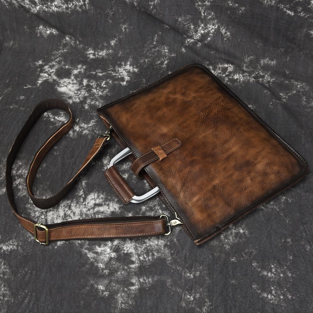 Túi da nam xách tay 519 da bò công sở siêu mỏng