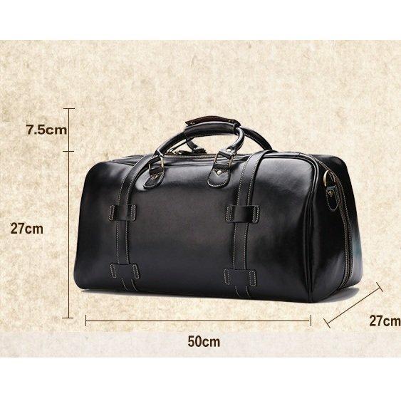 Túi trống da bò du lịch 604 màu đen mịn chất da dày bền đẹp