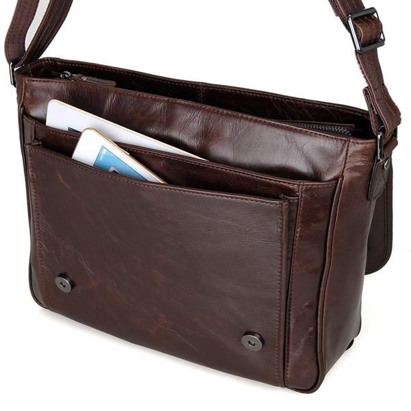 Túi da bò đeo chéo laptop 423