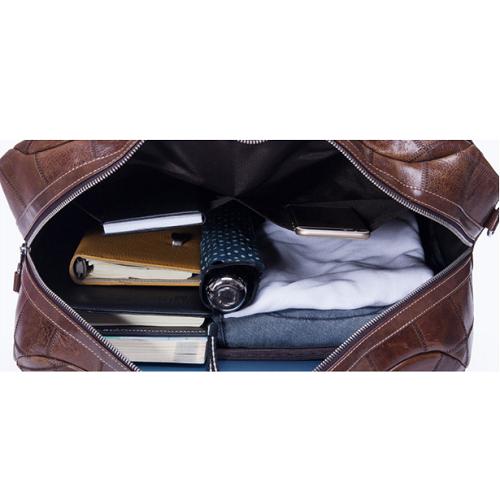 Túi da du lịch thời trang 608 form hộp chất liệu da bò vân caro màu nâu sành điệu
