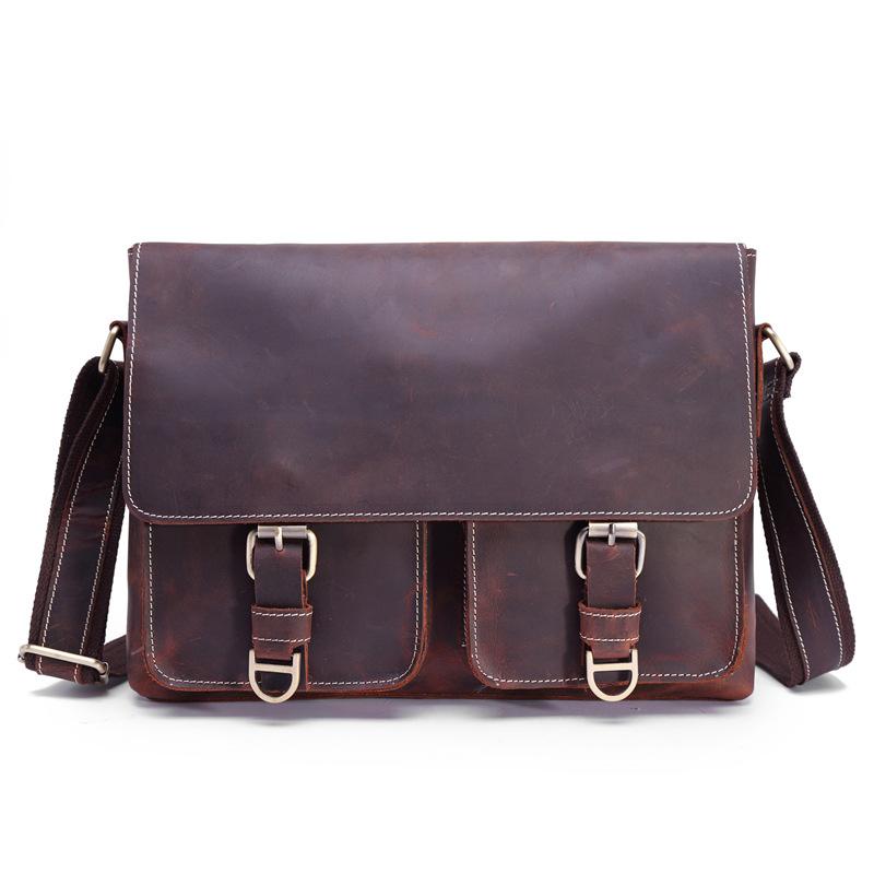 Túi da bò đeo chéo macbook 428 đơn giản lịch sự đựng macbook 13′
