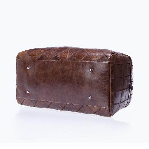 Túi da bò du lịch màu đen 609 form hộp chất liệu da bò vân caro màu đen mạnh mẽ