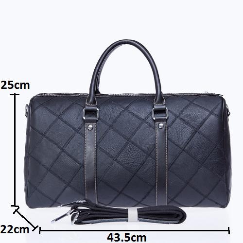 Túi xách công tác du lịch da bò 610 form tròn chất liệu da bò vân caro màu đen mạnh mẽ