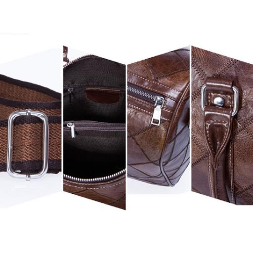 Túi xách thời trang du lịch da bò 610 form tròn chất liệu da bò vân caro màu nâu sành điệu