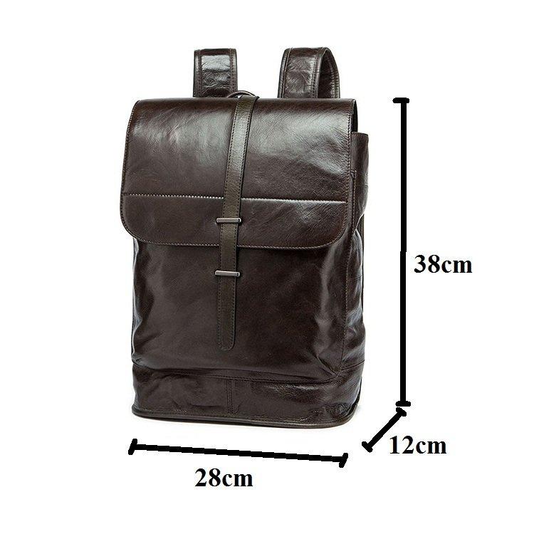 Balo da bò thời trang 115 da tự nhiên bền đẹp đựng laptop 15.6''