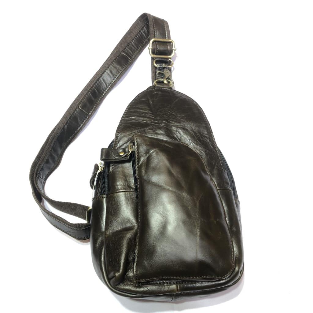 Túi da bò đeo bụng dây chéo 908 đa năng màu nâu đen chống nước