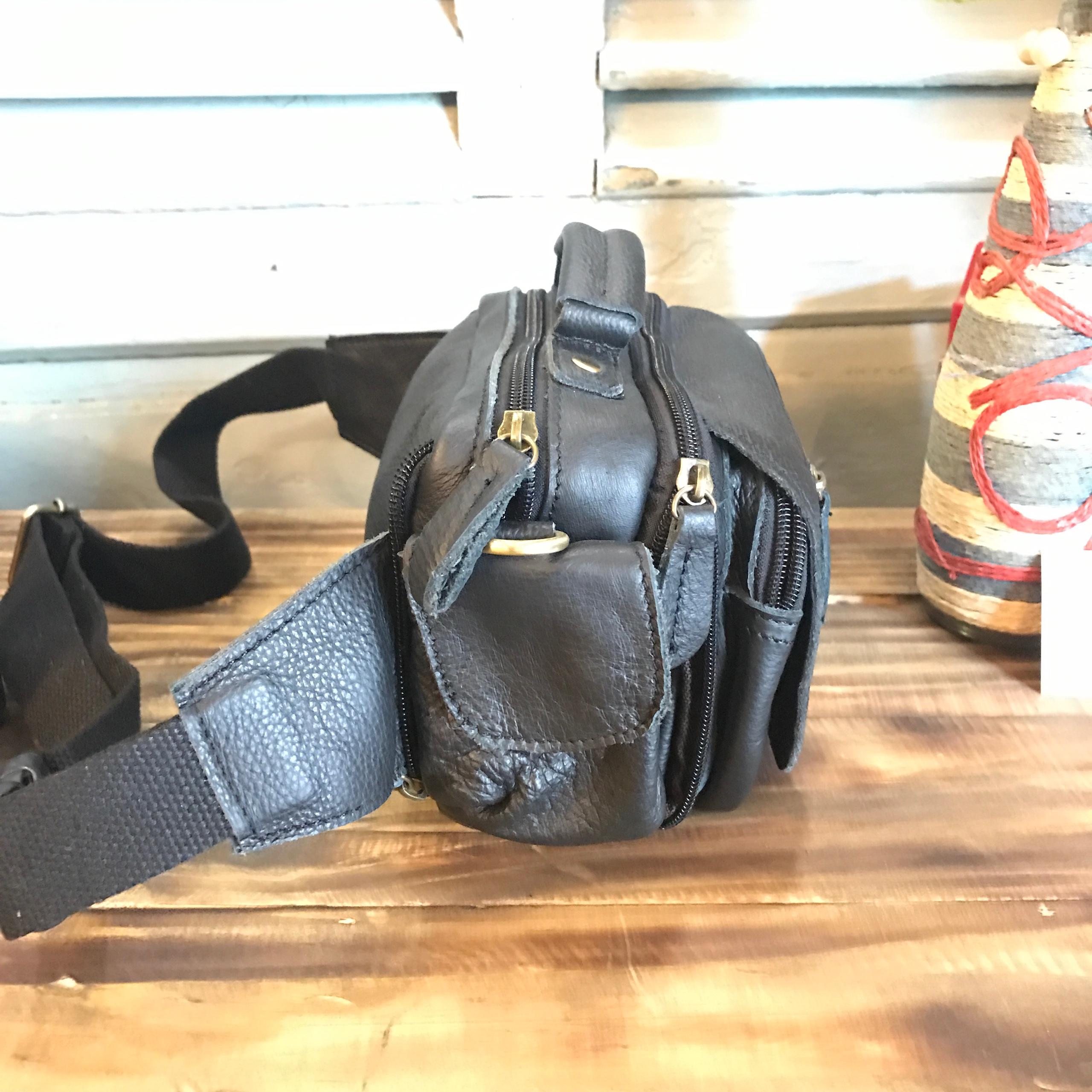 Túi da bò đeo bụng dây chéo 908 đa năng màu đen chống nước