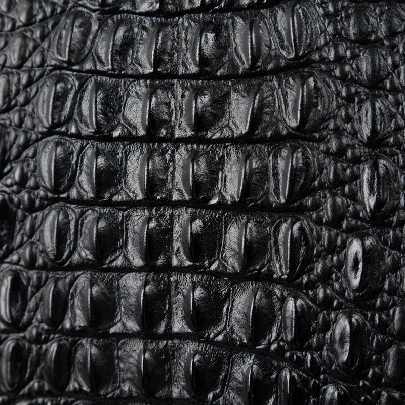 Túi cầm tay vân cá sấu 814 da bò sơn đen dập vân cá sấu cao cấp sang trọng