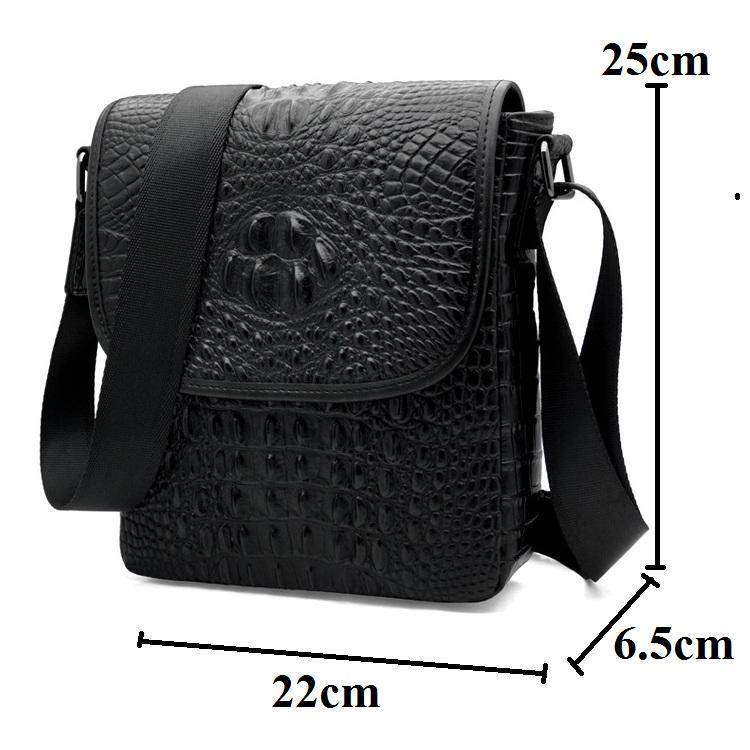 Túi da bò vân cá sấu 437 màu đen lịch lãm đựng ipad 9.7''