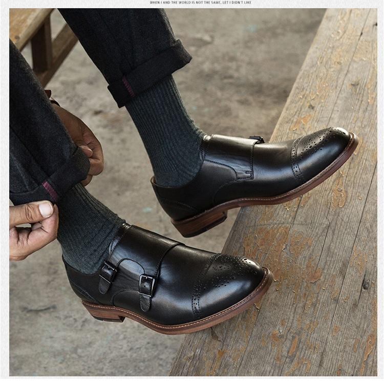 Giày da nam khuy cài chéo thời trang GD014 thời trang ấn tượng