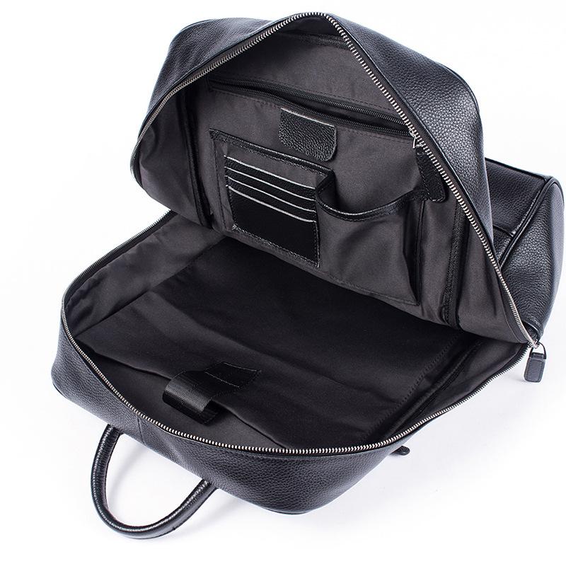 """Balo thời trang da bò laptop 118 màu đen vân hạt trẻ trung đựng laptop 15.6"""""""