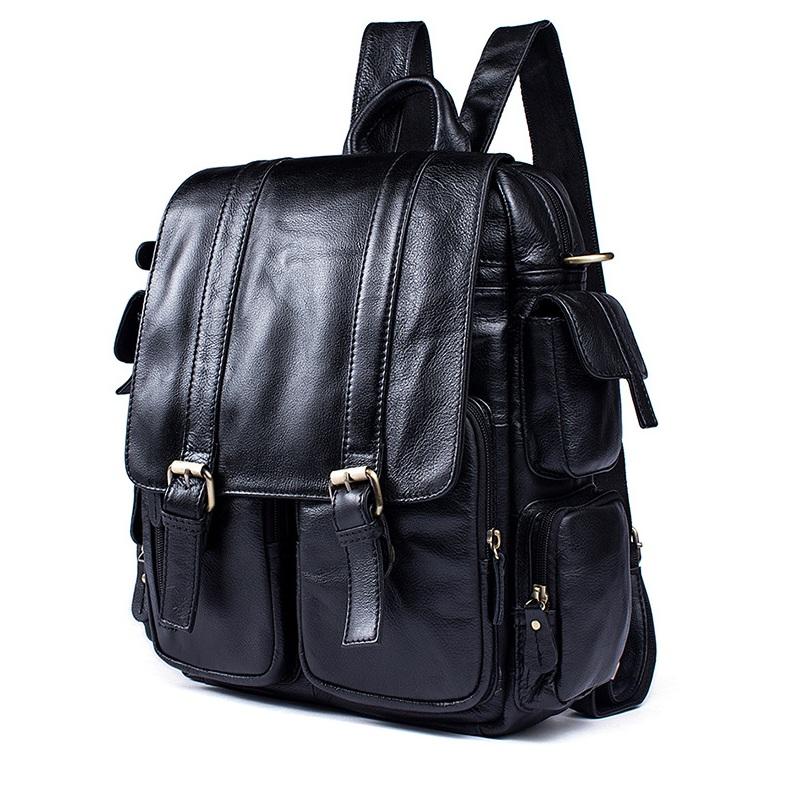 Balo da bò đa năng 121 màu đen da bò thời trang đựng laptop 13.3''