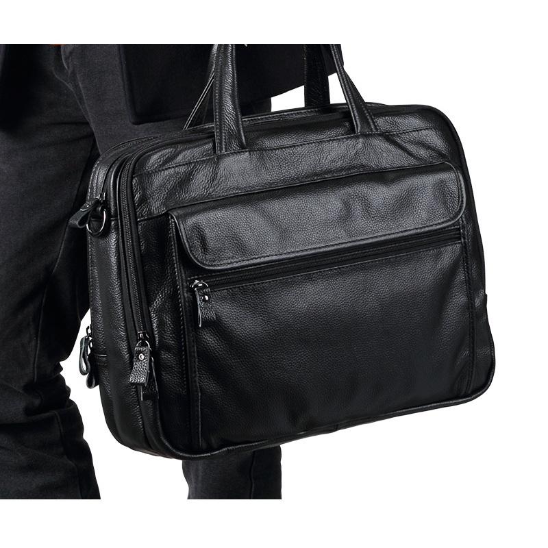 Cặp laptop da bò 055 màu đen vân hạt đựng laptop 15.6''