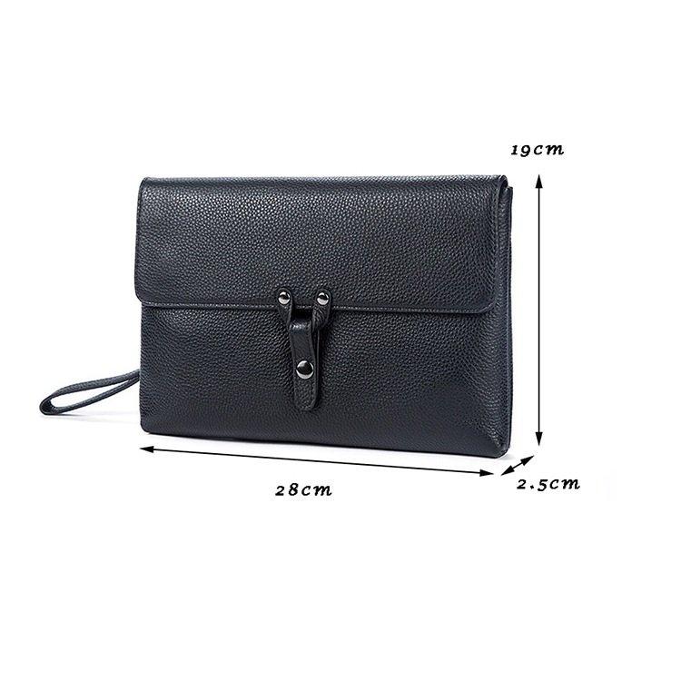 Túi cầm tay ipad mini da bò 816 da bò sơn đen cao cấp sang trọng