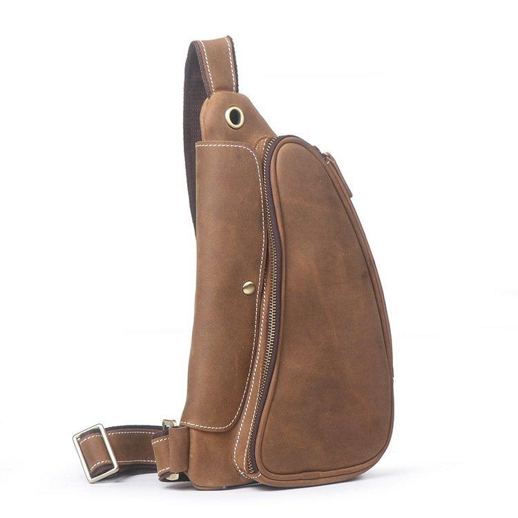 """Túi đeo lưng,Túi da đeo trước ngựcbằng da bò kiểu """"tay nải"""" #910"""