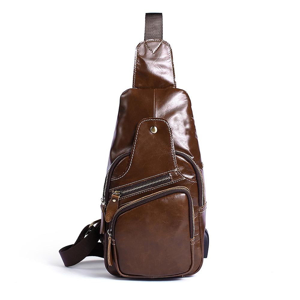 Túi da bò đeo ngực 915 màu nâu cafe nhỏ gọn thời trang
