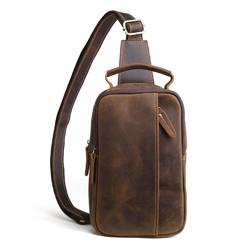 Túi da bò đeo ngực 916 đựng điện thoại ví bóp tiền đi chơi du lịch