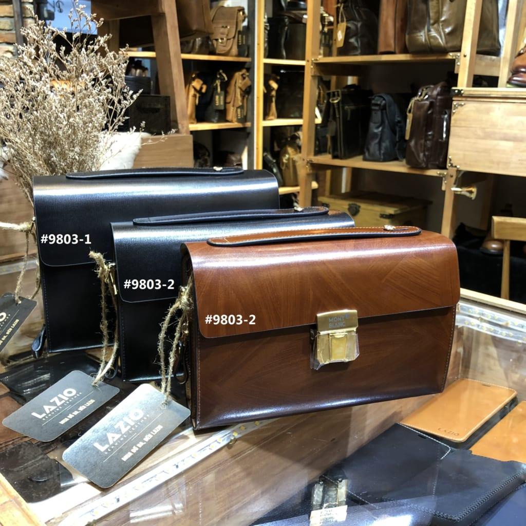 Túi cầm tay đeo chéo MontBlanc 828 da bò, khóa số, thời trang