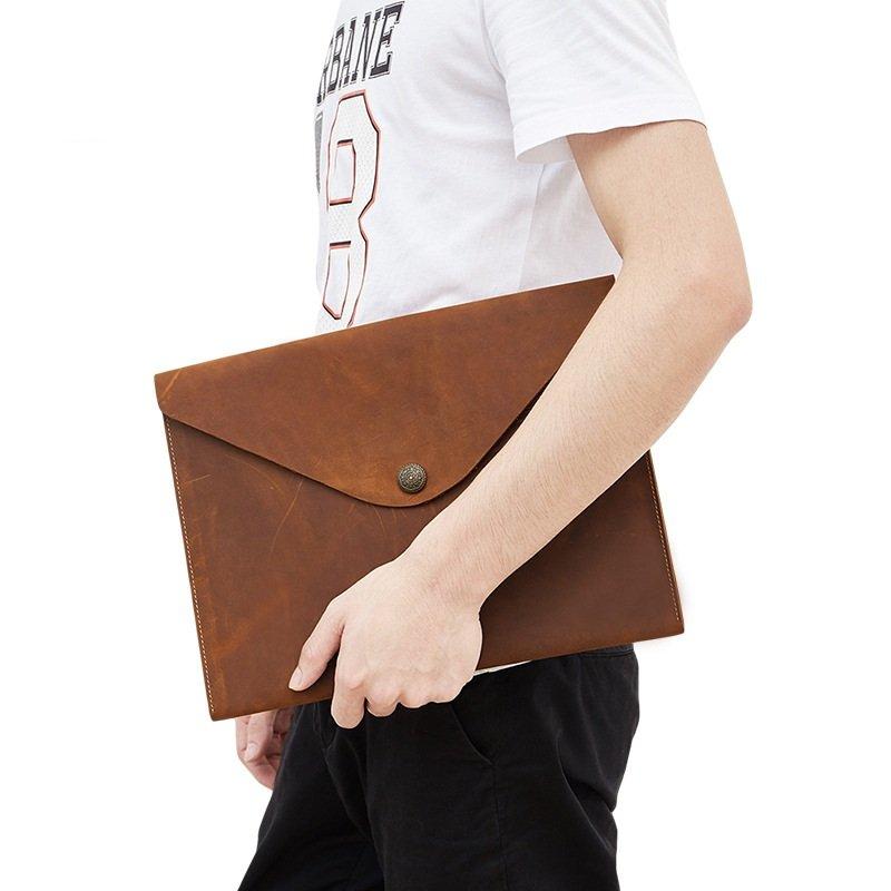 Túi hồ sơ da bò cao cấp 822 da bò sáp đựng giấy A4, macbook 13.3''