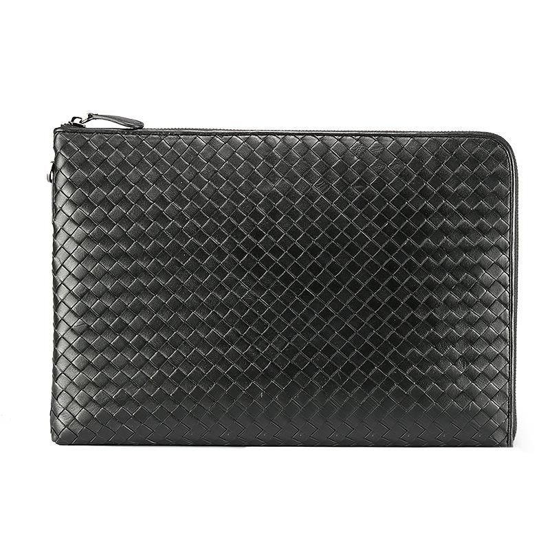 Túi chéo da bò đan thủ công 445 da bò sơn đen cao cấp sang trọng, đựng vừa macbook 13.3'', giấy A4