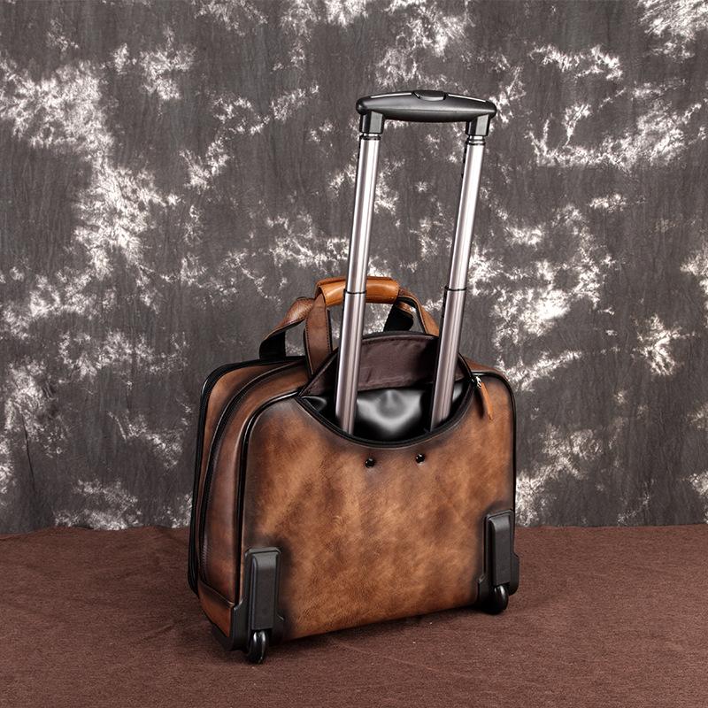 Vali du lịch da bò 602 cần kéo tiện dụng khi đi du lịch, nhỏ gọn xách tay lên máy bay